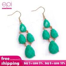 цена на Fashion Wedding Accessories Antique Bronze Vintage Green Big Stone Crystal Rhinestone Drop Earrings For Women Jewelry