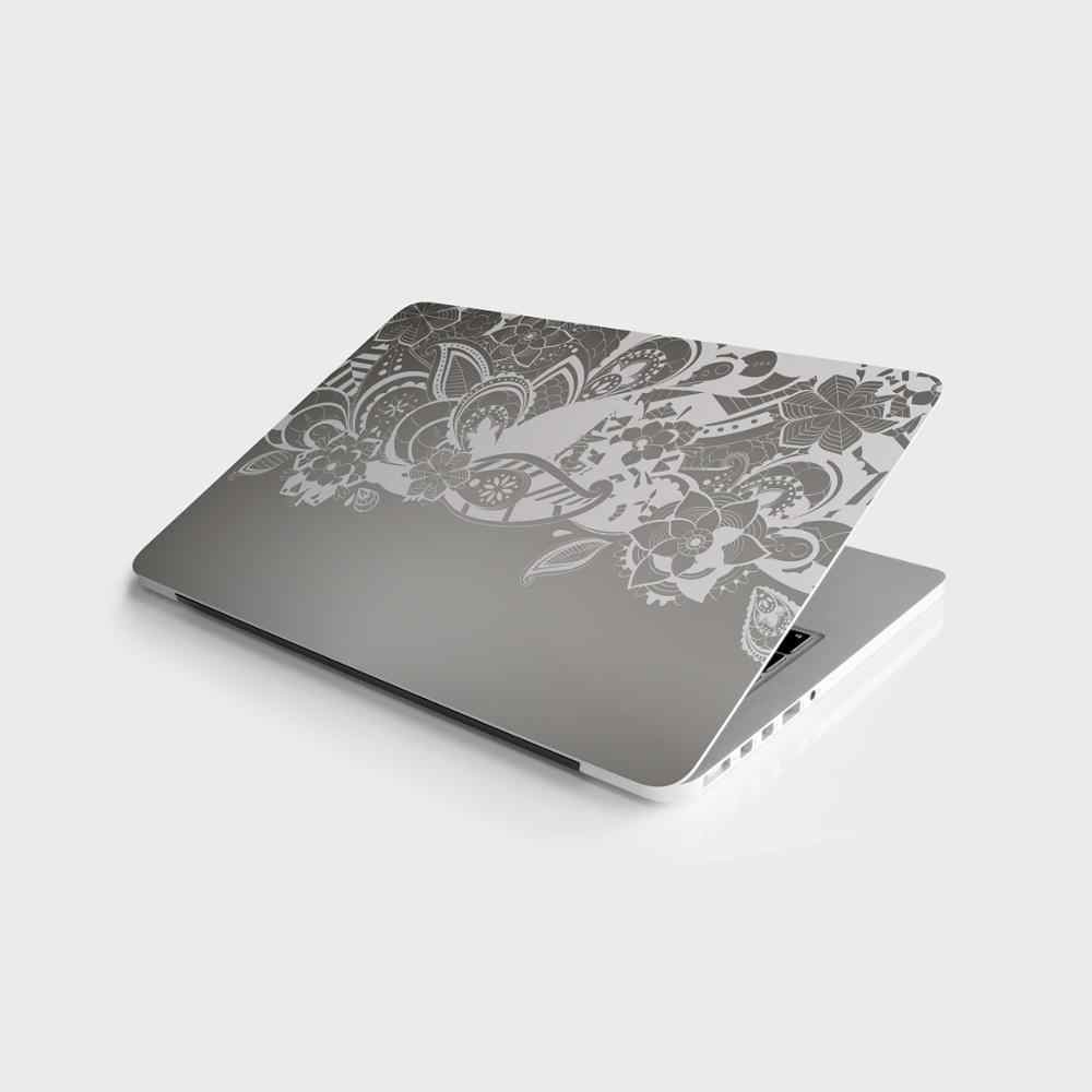 """스티커 마스터 회색 꽃 유니버설 스티커 노트북 비닐 스티커 스킨 커버 10 12 13 14 15.4 15.6 16 17 19 """"Macbook,asus,Acer,Hp,Lenovo,Huawei,Dell, msi, Apple,Toshiba,Compaq"""