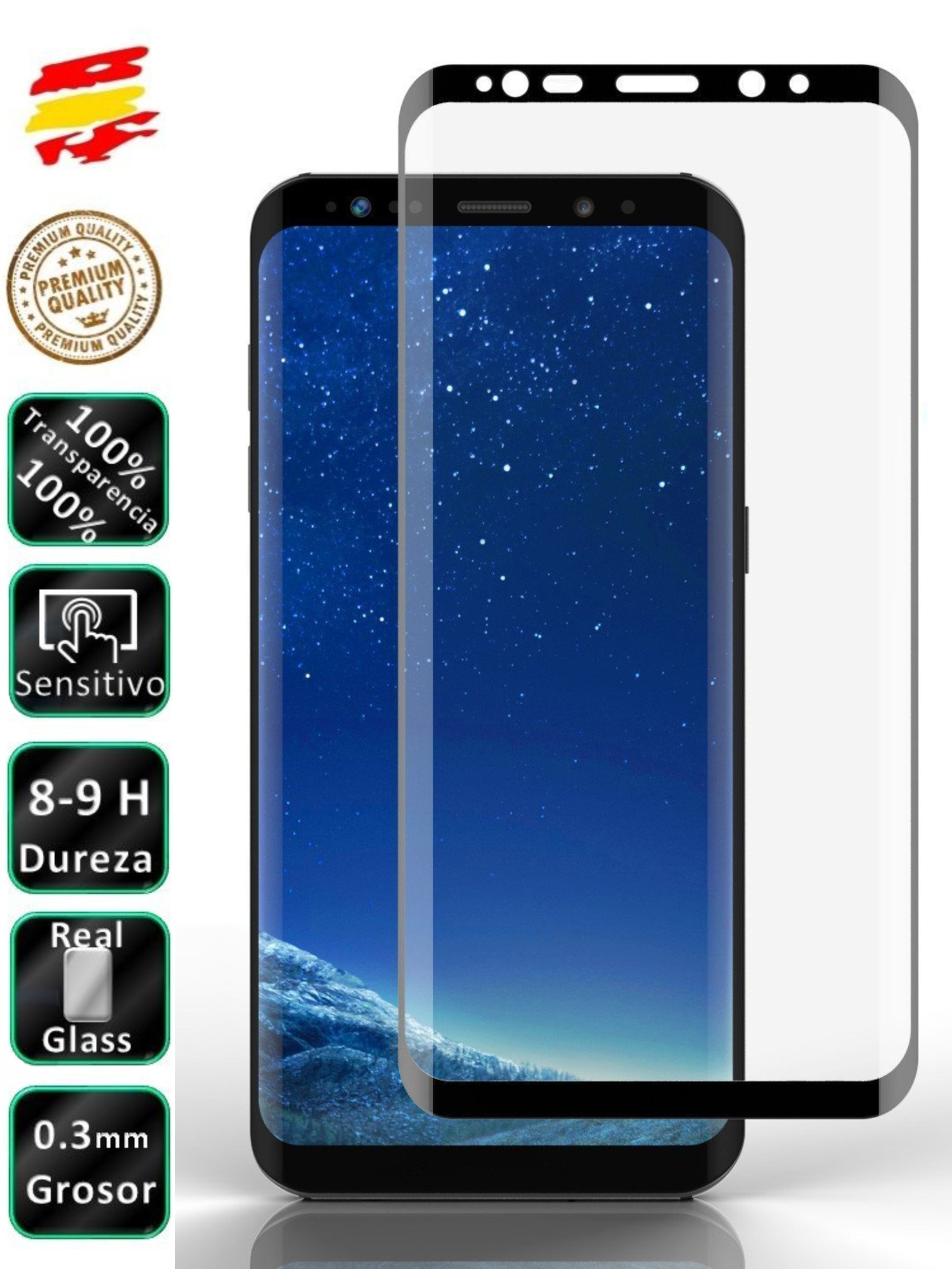 Protector Samsung Galaxy S9 Plus Black Full 3D Tempered Glass Screen