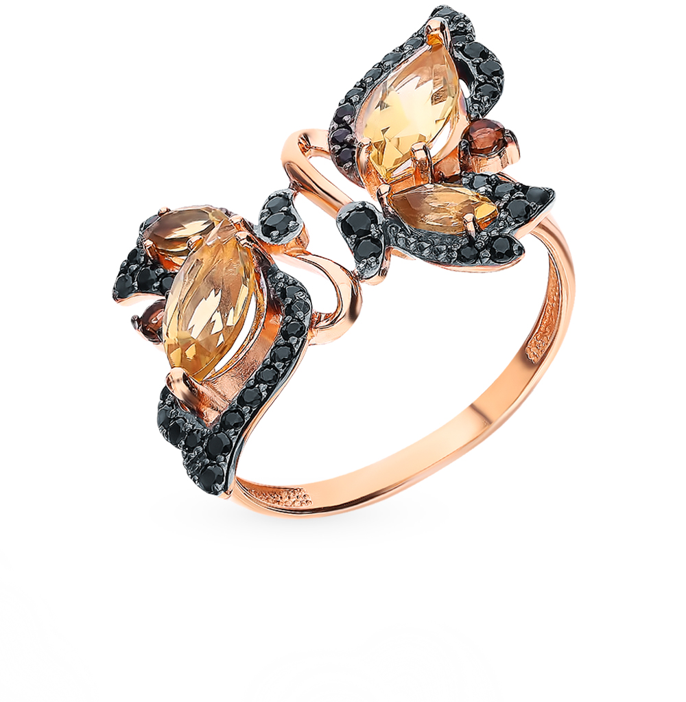 Gold Ring With раухтопазами, Cubic Zirconia And Citrine Sunlight Sample 585