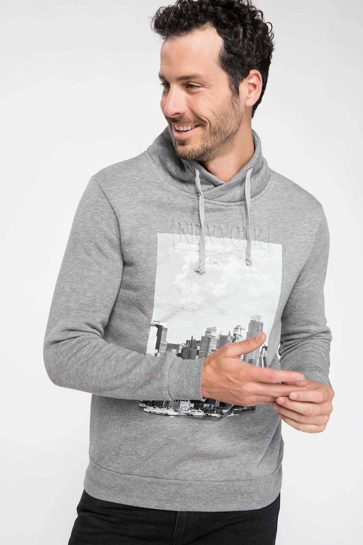 DeFacto 남자 회색 인쇄 패턴 스웨터 가을 패션 긴 소매 스탠드 칼라 캐주얼 루스 풀오버 남성-1673AZ18CW