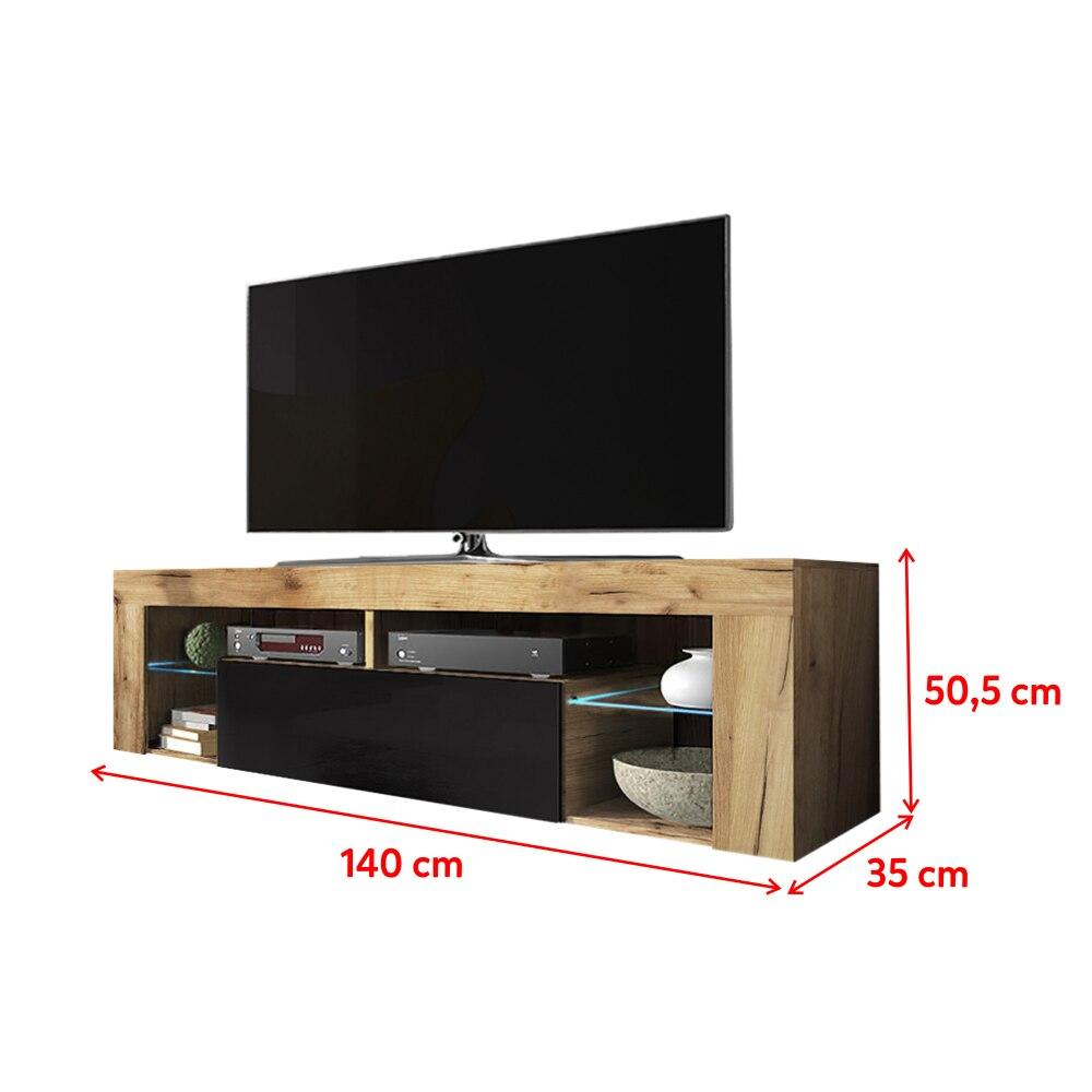 SELSEY BIANKO- Meuble TV  (140 cm, chêne lancaster / noir brillant - avec LED ) 4