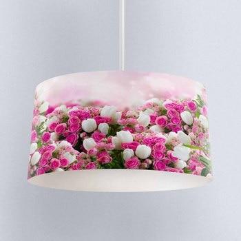 Else Pink White Tullips Rose Flowers Digital Printed Fabric Chandelier Lamp Drum Lampshade Floor Ceiling Pendant Light Shade