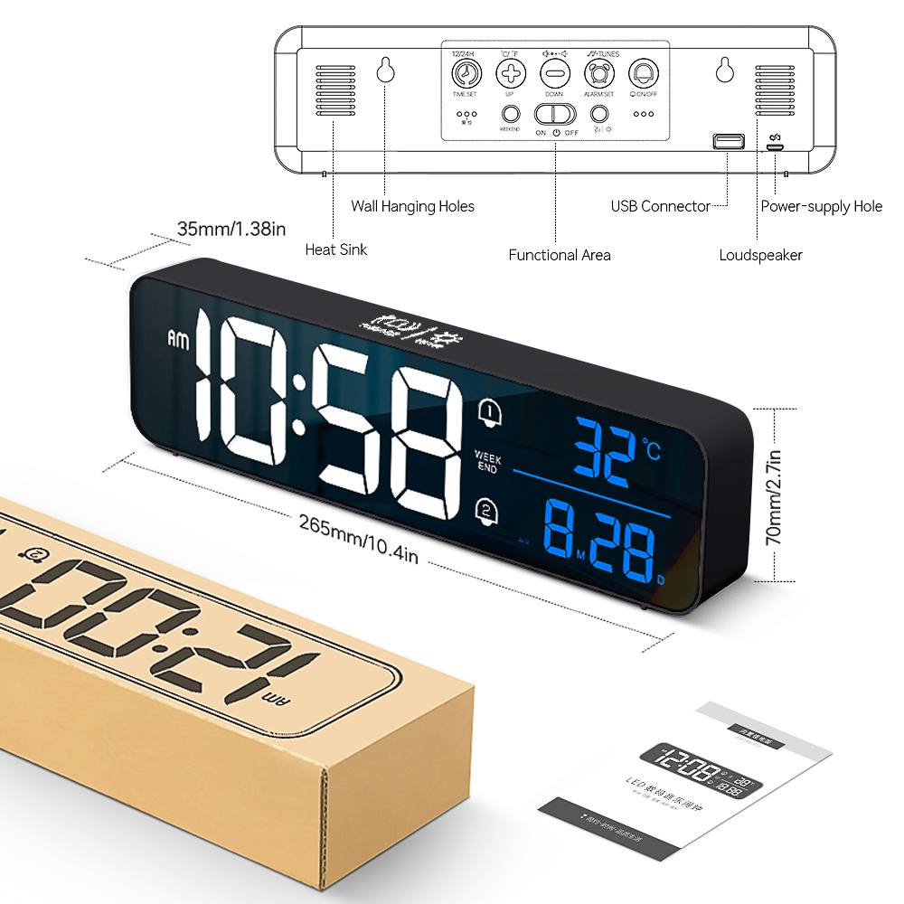 Music LED Digital Alarm Clock Temperature Date Display Desktop Mirror Clocks Home Table Decoration Electronic Clock 2000 mAh 7
