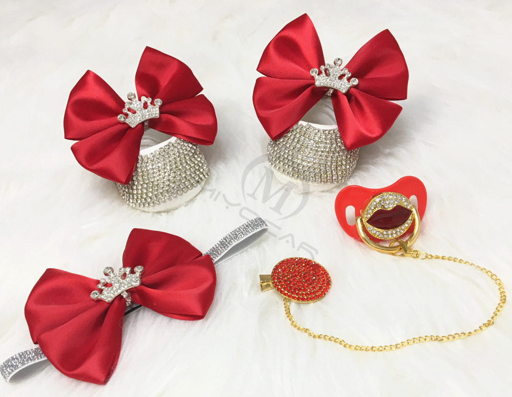 MIYOCAR Red Lip Bling Pacifier And Clip Set With Princess Red Bow Bling First Walker Shoes Set Unique Sexy Baby Shower Set C1