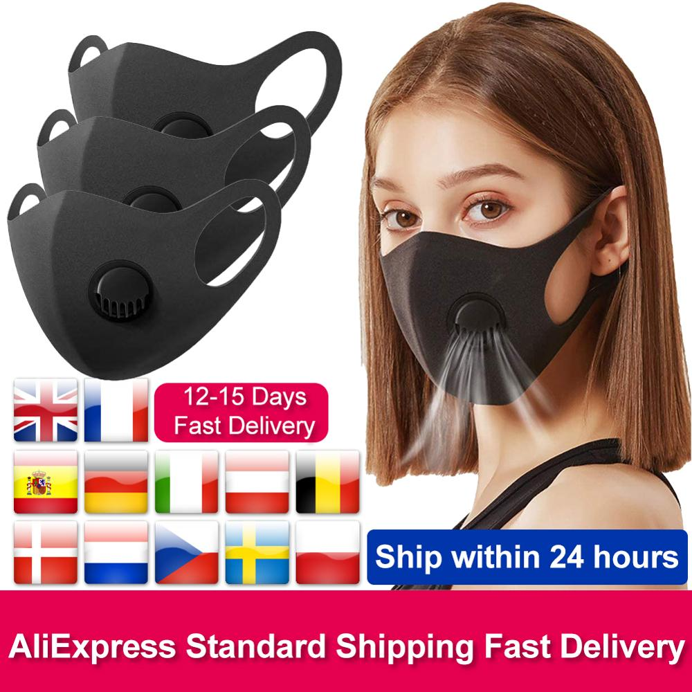 Unisex Washable Face Mouth Mask With Filters Breather Valve Dustproof PM2.5 Foggy Haze Pollution Half Face Respirator For Adult