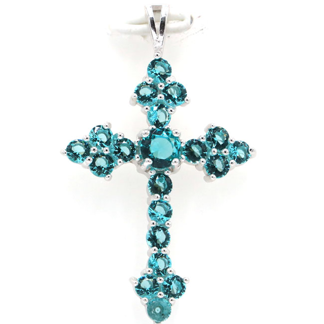 40x24mm Classic Long 3.9g Cross Created Rich Blue Aquamarine Gift Real 925 Solid Sterling Silver Pendant