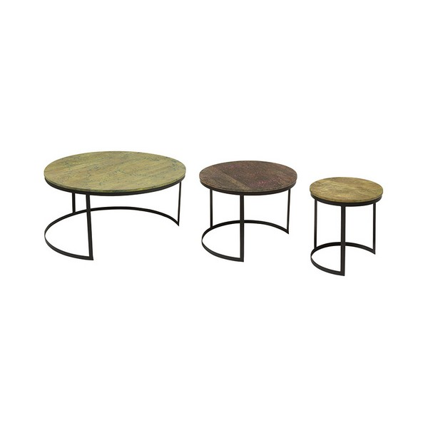Set Of 3 Small Tables Mango Wood Iron