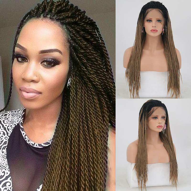 Charisma Ombre Brown Braided Wigs Free Part Synthetic Lace Front Wig Long 2X Twist Braids Wigs For Women Ash Blonde Wig