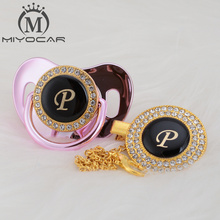 MIYOCAR name Initial letter P elegant silver bling pacifier and clip BPA free dummy unique design LP