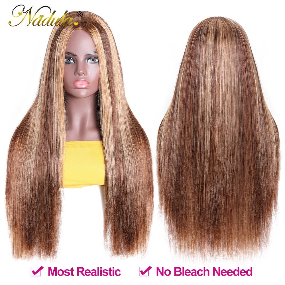 """2x5""""PU Silk Base Closure Wigs Highlight Mix Color Piano Blonde Wig 150% Density Straight  Wigs  Virgin Hair 5"""