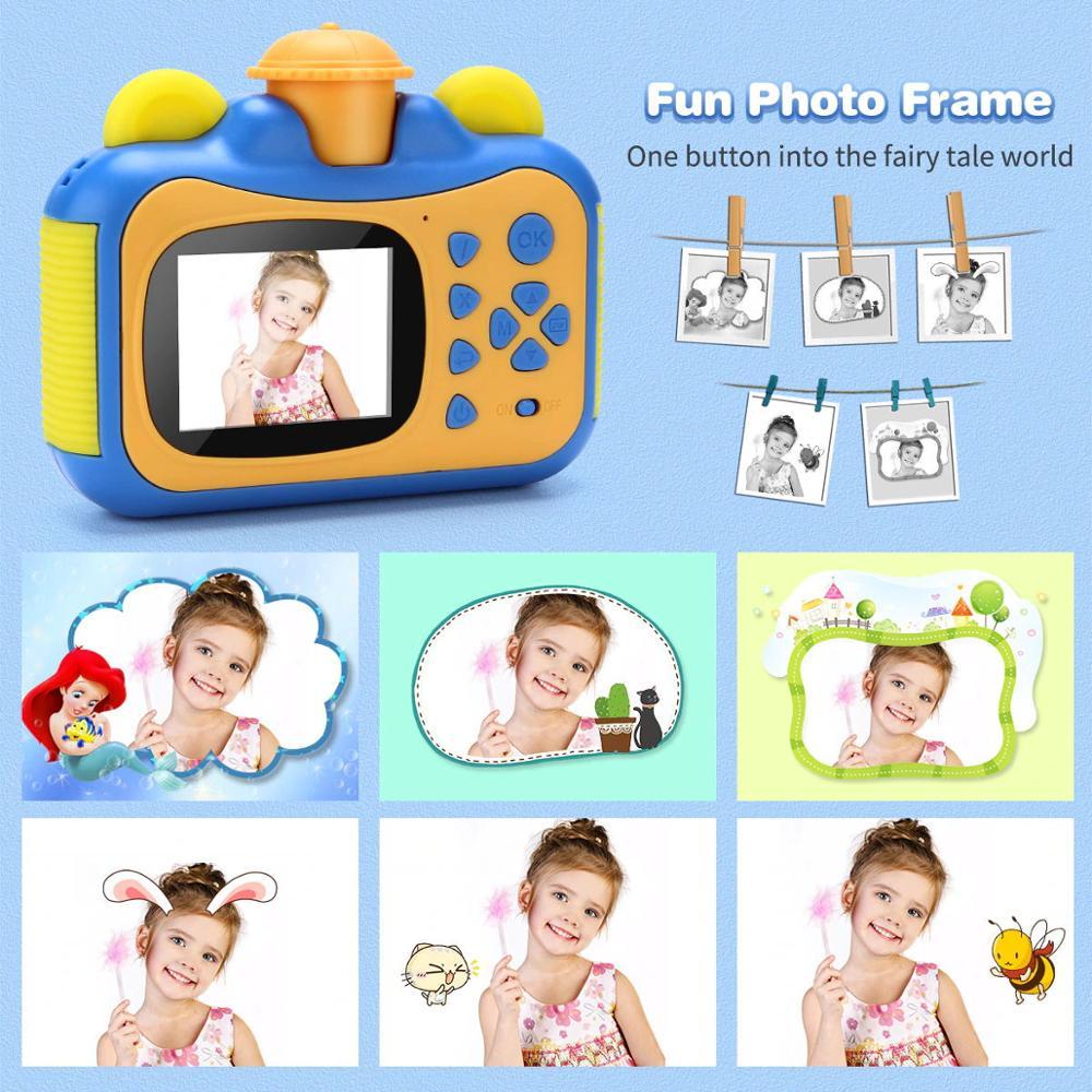 Crianças câmera de impressão instantânea câmera para crianças 1080p hd câmera de vídeo foto brinquedos com cartão 32gb 3