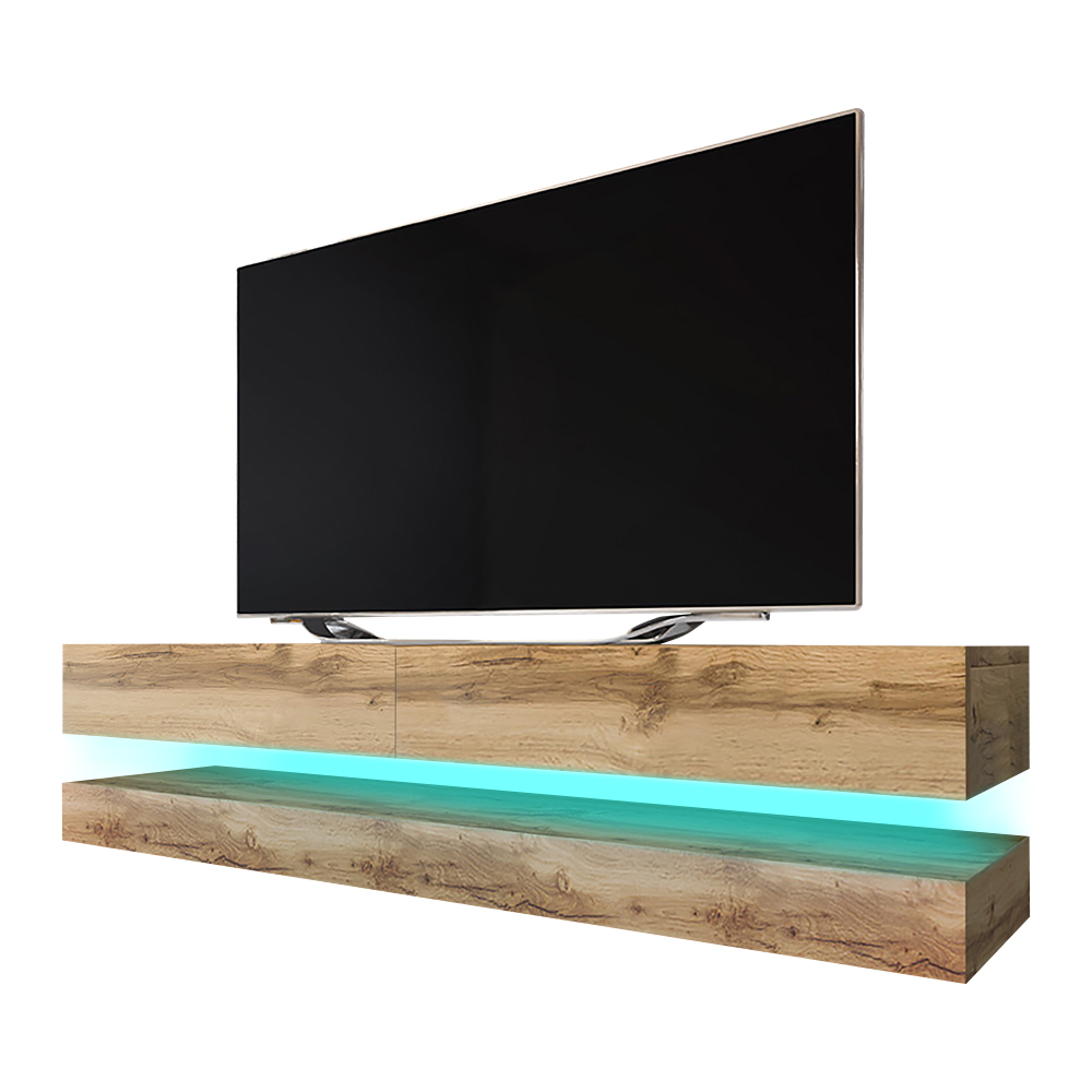 HYLIA Meuble TV suspendu (140 cm, chêne wotan avec LED) 2