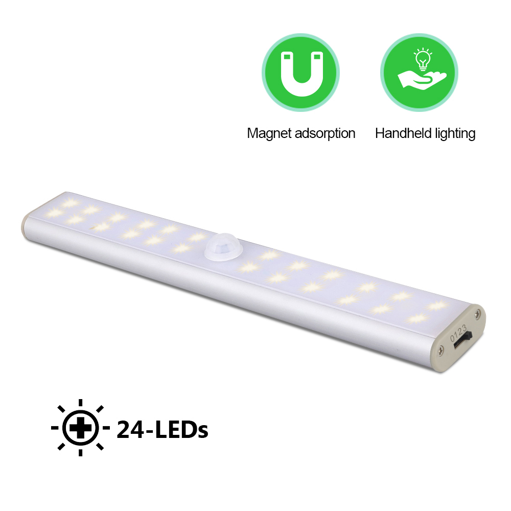 24LEDs Kitchen Closet Light USB Rechargeable Closet LED Lighting Motion Sensor Wireless Under Cabinet Lights Wardrobe Closet