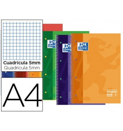 NOTEPAD SPIRAL OXFORD TOP EXTRADURA MICROPERFORATED DIN A4 80 SHEETS TABLES 5MM ASSORTED COLORS 4 Pcs