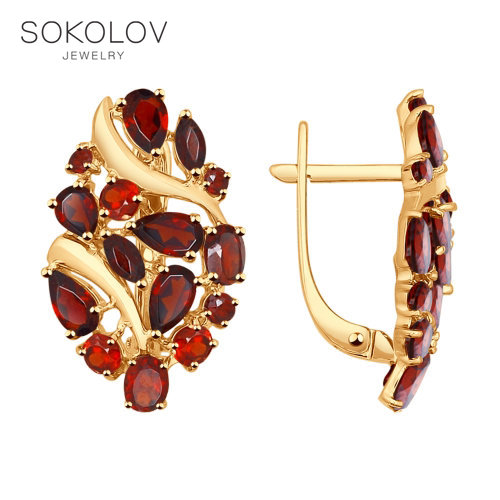 SOKOLOV Drop Earrings With Stones With Stones Of Gold With Garnets Fashion Jewelry 585 Women's Male