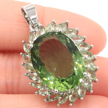 Fantastic Big Oval 20x15mm Green Amethyst Gift For Womans Silver Pendant 34x25mm