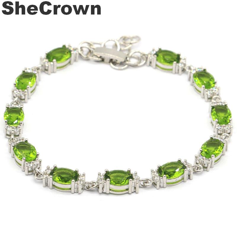 12x6mm European Style 12g Created Green Peridot <font><b>Tanzanite</b></font> Natural CZ Woman's Jewelry Making Silver <font><b>Bracelet</b></font> 7.0-8.0inch image
