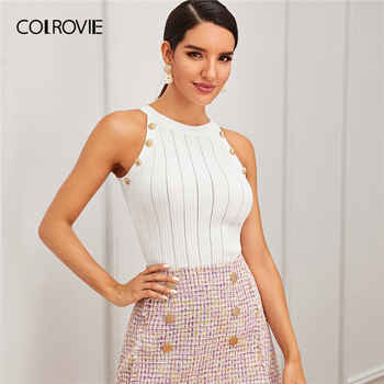 COLROVIE White Double Button Halter Knit Top Women 2019 Fall Fashion Slim Fit Basic Tops Casual Sleeveless Elegant Sweaters