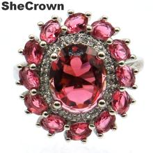21x19mm Stunning Created Pink Raspberry Rhodolite Garnet Gift For Sister Silver Rings