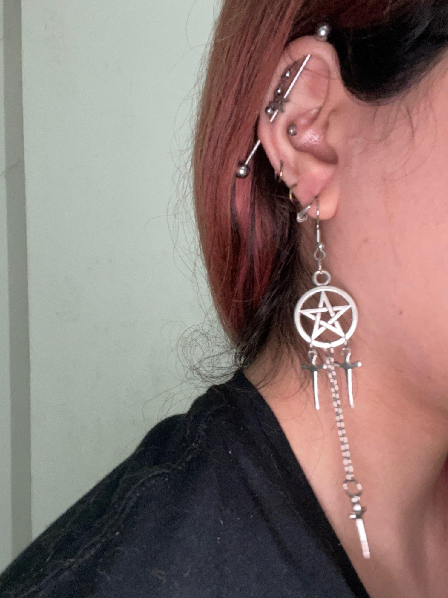 Gothic E-girl E-boy Punk Pentagram Swords Earrings photo review