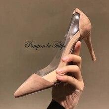 MNK 930063 Suede/Patent Leather Crystal PVC Sheepskin Pumps 6CM High Heels Stilettos Party Wedding Ladies Fashion Women Shoes