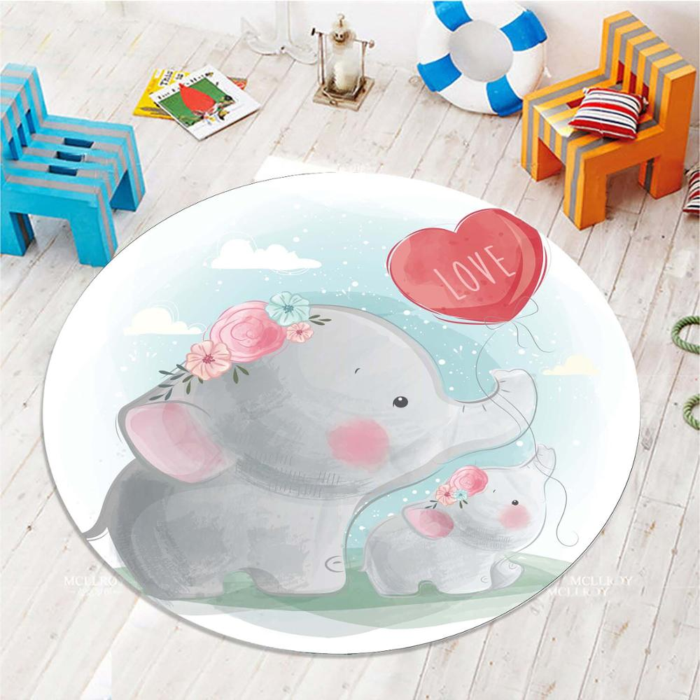 Else Little Gray Elephant Red Heart 3d Pattern Print Anti Slip Back Round Carpets Area Round Rug For Kids Baby Children Room