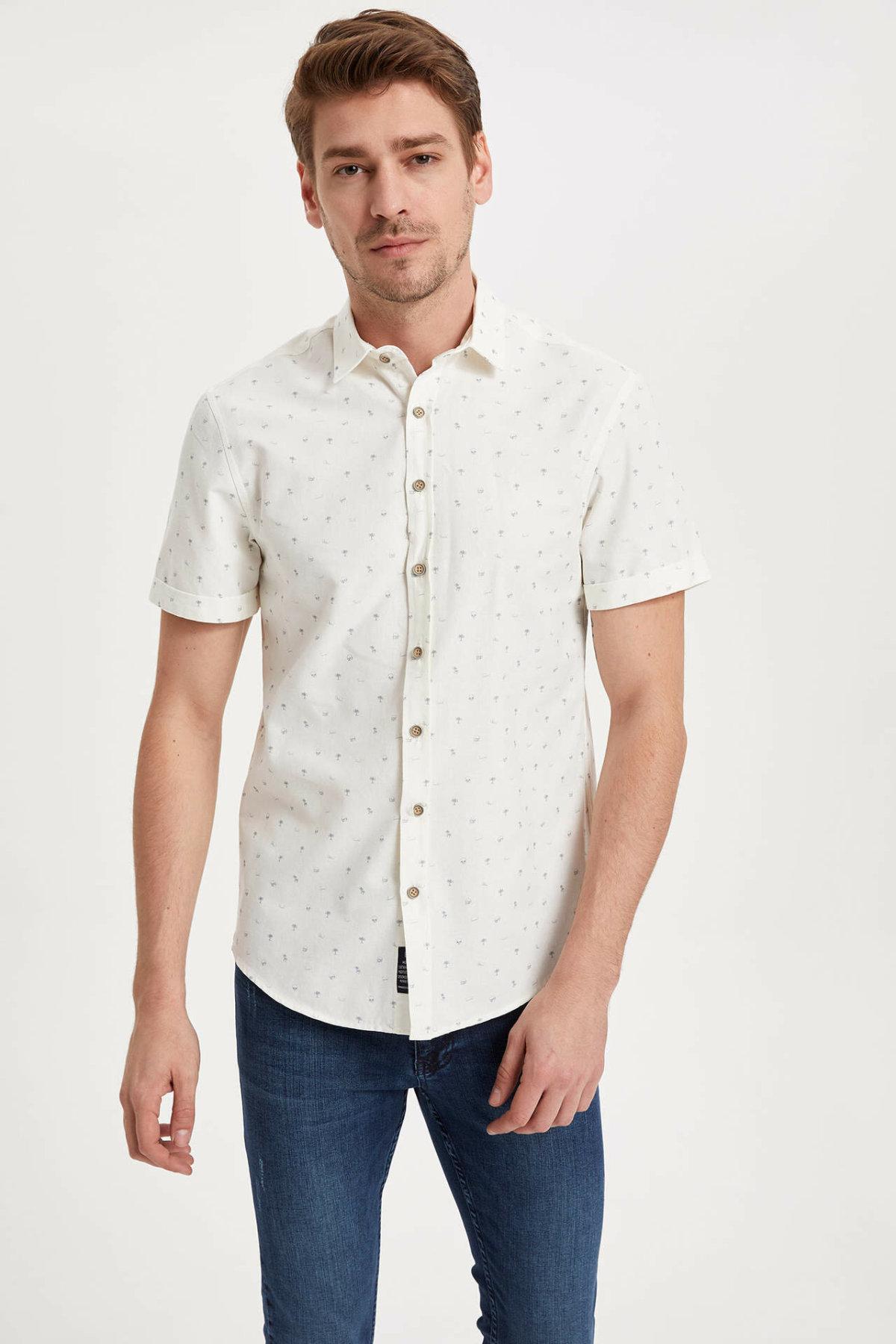 DeFacto Man Summer White Shirts Men Casual Short Sleeve Tops Male Fit Loose Shirt Men Top Cloth-K3903AZ19SM