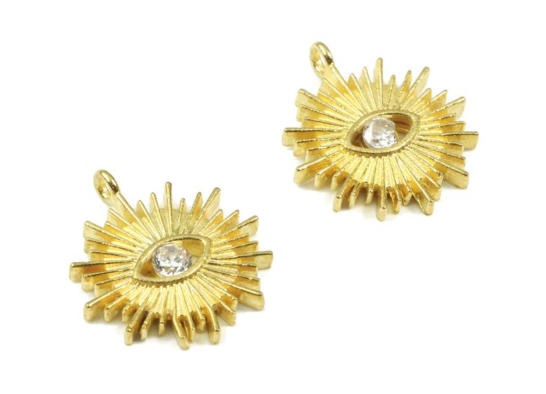 Brass Sun Eye Earring Charm With Zincon - Raw Brass Sun Eye Pendant - Jewelry Supplies - 2Pcs/Lot - 16.87x14.92x2.17mm - PP3089