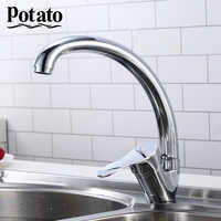 Potato Zinc Alloy Deck Mounted Kitchen Sink Faucet Cold and Hot Water Tap 360 Degree Swivel mixer Faucets p59214