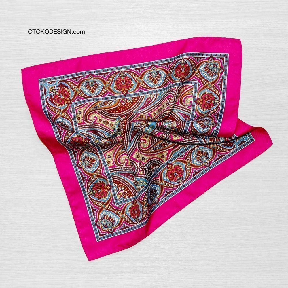 Silk Jacket Pocket Square Red/brown Patterned (51844)