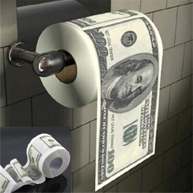 2020 Newest $100 Dollar Bill Toilet Paper Roll Novelty Gag Gift Dump Trump Creative Dollar Toilet Paper Roll Paper Toilet Tissue