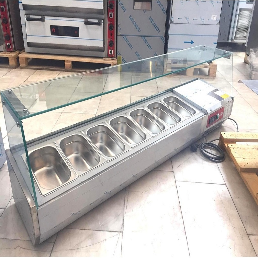 Chef Commercial Countertop Refrigerated Buffet Catering Food Display Sandwiches Pizza Prepare Working Bench Work Table Salad Bar