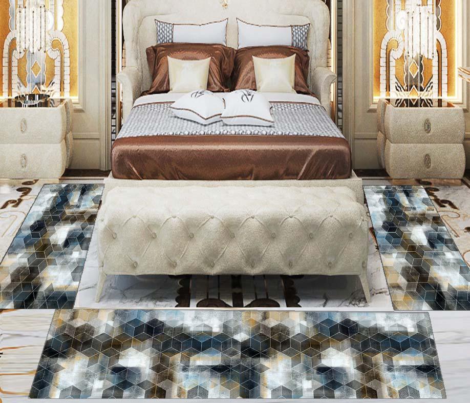 Else 3 Piece Brown Black Grey Watercolor Hexagon 3d Print Non Slip Microfiber Washable Decor Bedroom Hallway Area Rug Carpet Set