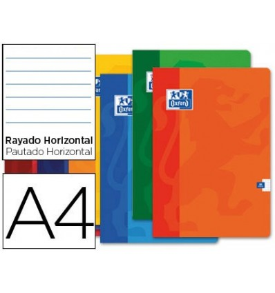 SCHOOL NOTEBOOK OXFORD 48 H DIN A4 HORIZONTAL STRIPED ASSORTED COLORS 10 PCs