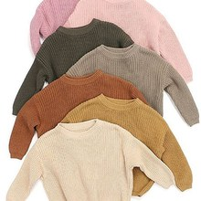 Basic Sweater Clothing Crewneck Wool Soft Thick Girls Baby Boys Winter Kids Casual Solid