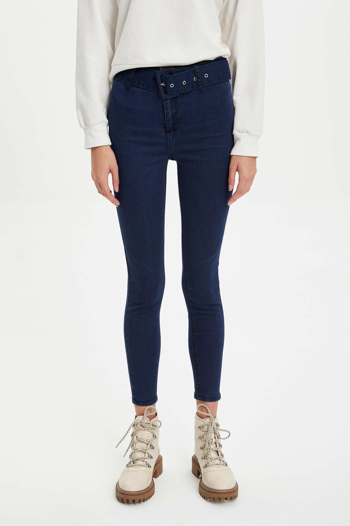 DeFacto Fashion Women High Waist Blue Solid Jean Trousers Casual Elastic Slim Denim Female Crop Pencil Pants Ladies-L7220AZ19AU