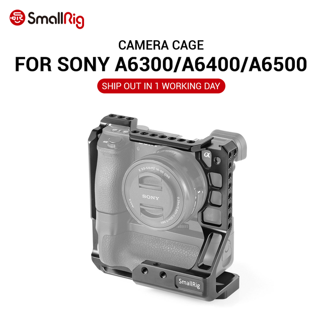SmallRig A6400 Gabbia DSLR Cage Fotocamera per Sony A6000/A6300/A6400/A6500 con Meike MK A6300/A6500 battery Grip 2268