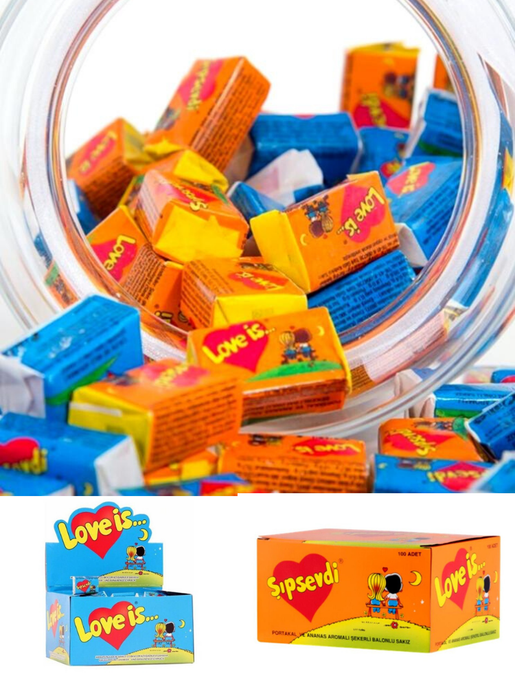 Bubble Chewing Gum sugar gum Strawberry Gum 100 Pieces Made in Turkey