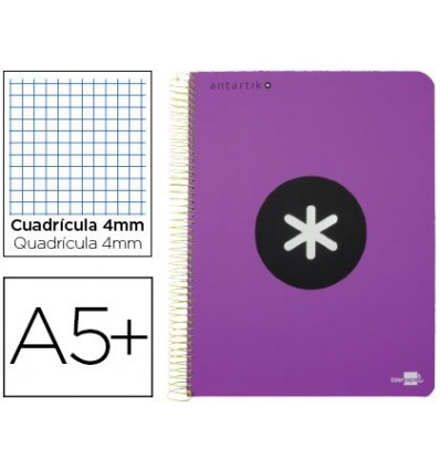 SPIRAL NOTEBOOK LEADERPAPER A5 ANTARTIK HARDCOVER 80H 100 GR TABLE 5MM MARGIN VIOLET COLOR