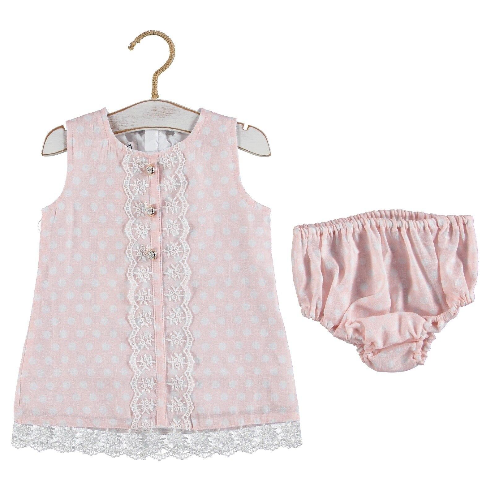 Ebebek Verscon Baby Girl Petter Pan Collar Sleeveless Short Set