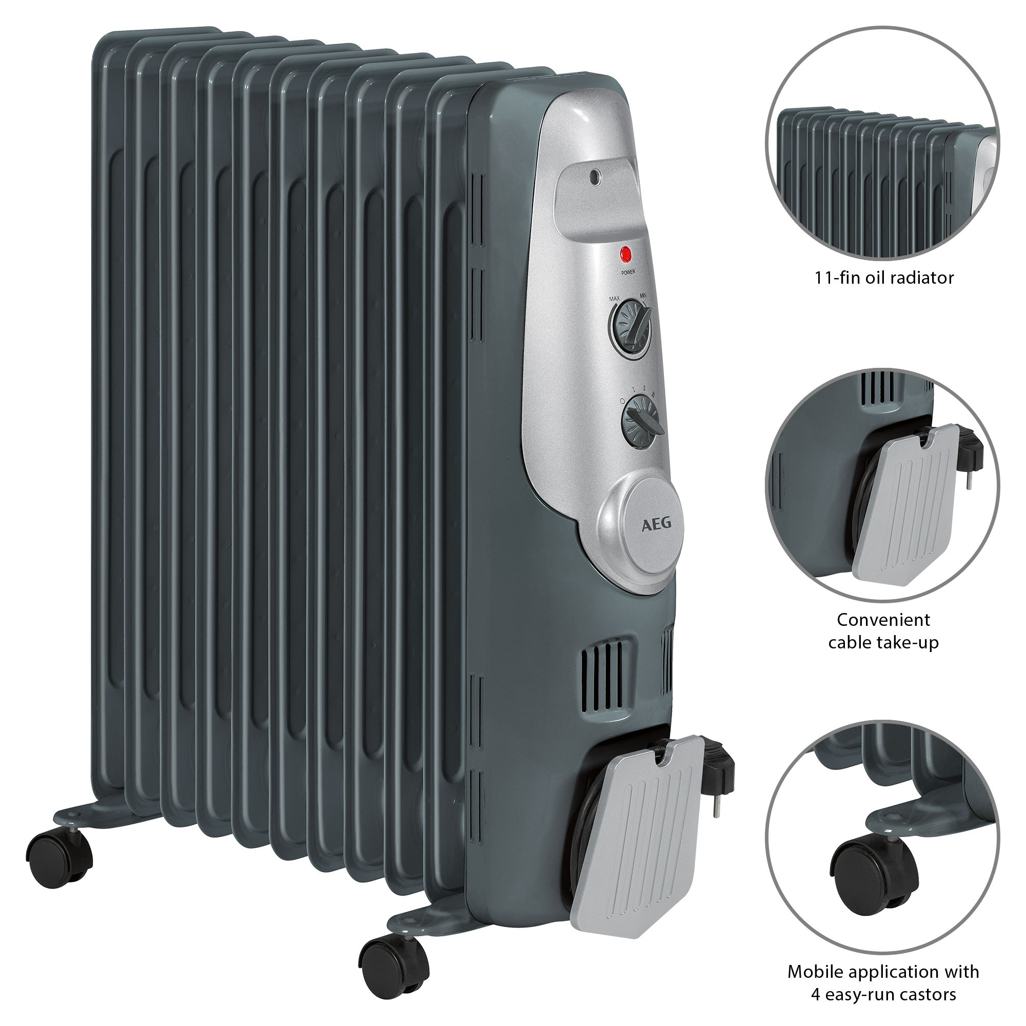 AEG RA 5522 Oil Cooler 2200W 11 Elements Thermostat 3 Tiers Power Regulatory Power For A Low Consumption