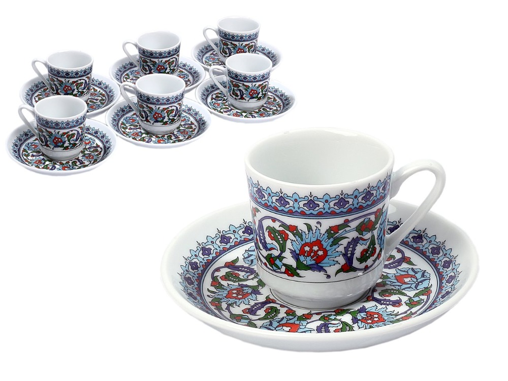 Porcelain Turkish espresso Coffee Cup 12 pieces FREE SHIPPING 6 Cups+6 Saucers