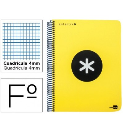 SPIRAL NOTEBOOK LEADERPAPER A4 ANTARTIK HARDCOVER 80H 100 GR TABLE 5MM WITH MARGENCOL OR FLUOR YELLOW