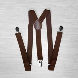 Pants suspenders narrow (2.5 cm, 3 clips, Brown) 54163