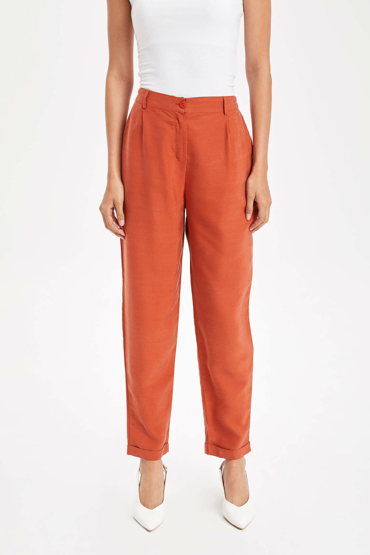 DeFacto Female Fashion Loose Trousers Ladies Casual Button Pants Comfort Straight Comfort Long Pants New Orange - L1406AZ19SP