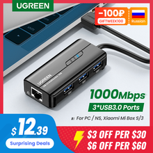 UGREEN USB Ethernet USB3.0 Lan 1000Mbps adattatore Ethernet USB RJ45 HUB USB per Laptop Xiaomi Mi Box S Ethernet HUB scheda di rete