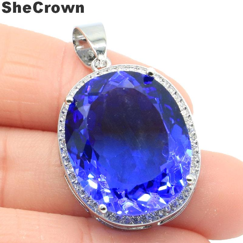 25x20mm Big Oval Gemstone 22x18mm Created Rich Blue Violet Tanzanite CZ Gift For Girls Silver Pendant