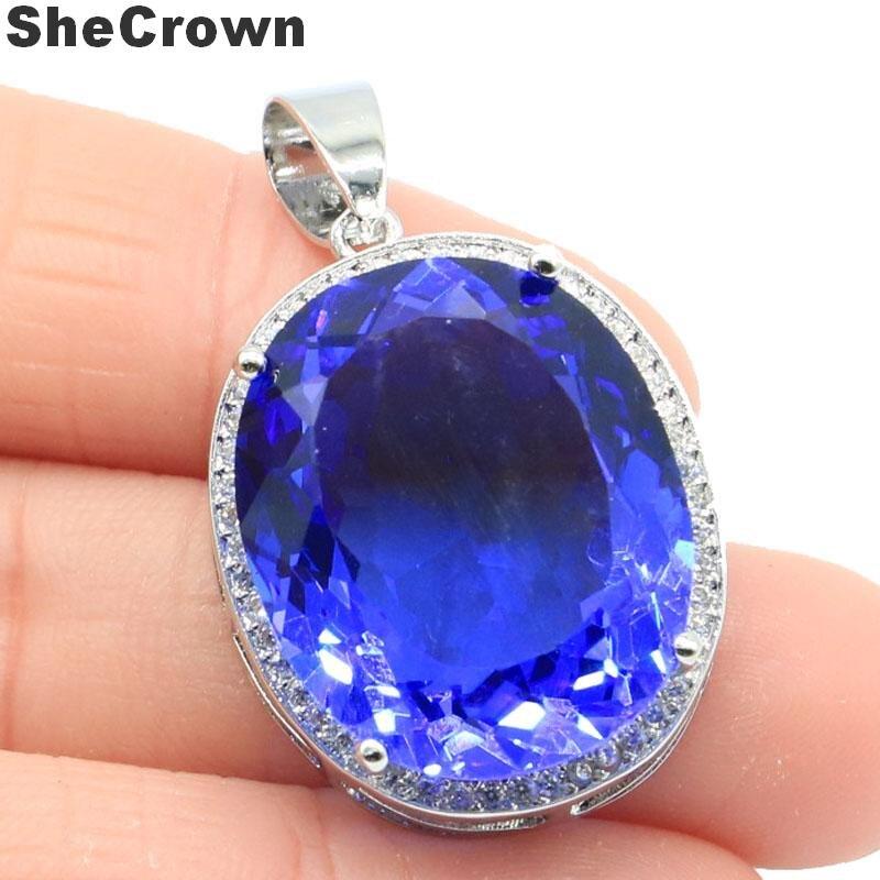 25x20mm Big Oval Gemstone 22x18mm Created Rich Blue Violet Tanzanite CZ Gift For Girls Silver Pendant