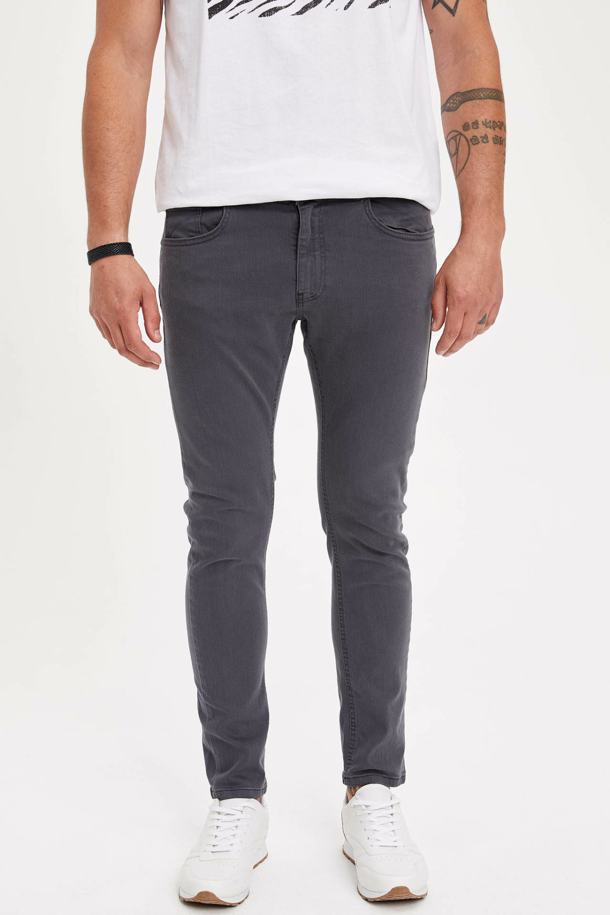 DeFacto Man Summer Casual Dark Grey Denim Jeans Men Slim Fit Denim Bottoms Male Mid-waist Trousers-L8824AZ19SM